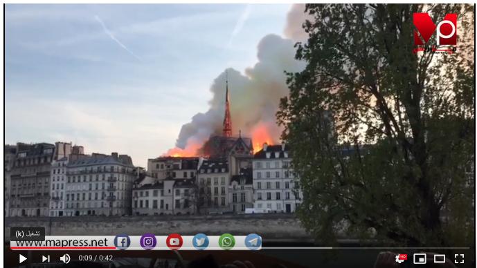 حريق ضخم يلتهم كاتدرائية نوتردام التاريخية وسط باريس بث مباشر