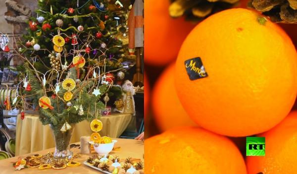 """بالفيديو : الروسيون يجعلون من """"المندرين"""" المغربي رمزا لعيد رأس السنة في روسيا"""